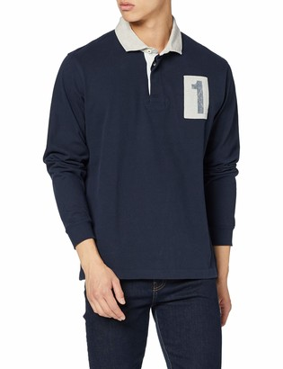 Hackett London Men's Archive 1 Rugby Polo Shirt Blue (Navy 595) XX-Large