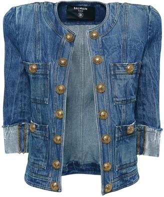 Balmain Cotton Denim Crop Jacket