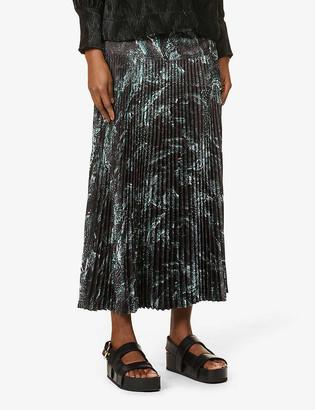 Me And Em Pleated drop-waist crepe midi skirt