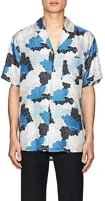 Off-White MEN'S FLORAL & CAMOUFLAGE SILK SHIRT - NAVY SIZE S