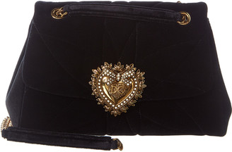 Dolce & Gabbana Devotion Large Quilted Velvet Shoulder Bag