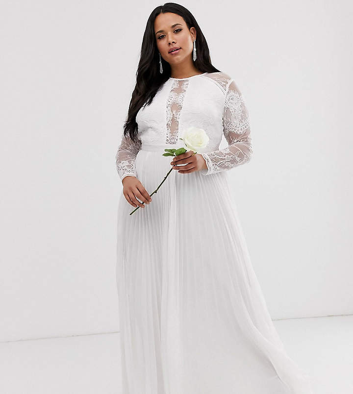 Asos Edition EDITION Curve long sleeve lace bodice maxi wedding dress with pleated skirt