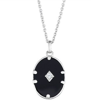 Harper Stone Silver Plated Black Oval Agate Cubic Zirconia Pendant