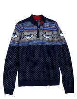 Vineyard Vines Marlin Whale Intarsia Quarter Zip Sweater (Big Boys)