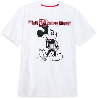 Disney Mickey Mouse Classic T-Shirt for Adults Walt World Black & White Plaid