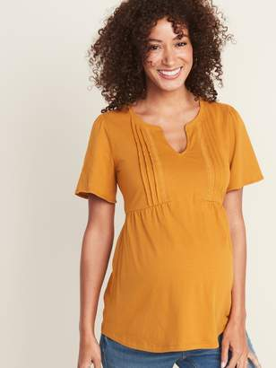 Old Navy Maternity Pintucked Crochet-Lace Trim Top
