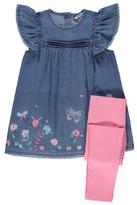 George Embroidered Denim Dress and Leggings Set