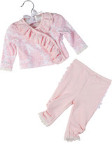 Laura Ashley Two-Piece Floral Top & Pants Set, Pink Pattern, Size 0-24M