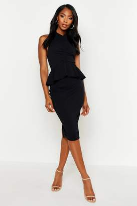 boohoo High Neck Ruched Peplum Midi Dress