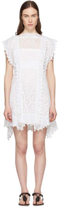 Isabel Marant White Kunst Broderie Anglaise Short Dress
