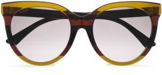 Gucci D-frame Striped Acetate Sunglasses