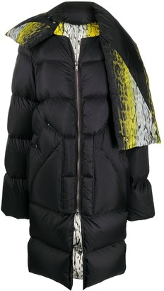 Rick Owens Oversized Abstract Print Puffer Coat