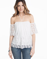 White House Black Market Off-the-Shoulder Eyelet Split Back Top