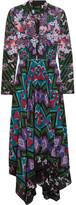Saloni Cerise Asymmetric Printed Silk-crepe Maxi Dress - Purple