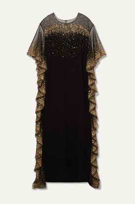 Marchesa Ruffled Sequined Tulle-trimmed Cady Gown - Black