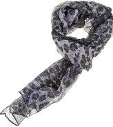 Leopard Print Sheer Scarf
