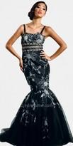 Black Pattern Mermaid Style Gown by Nika