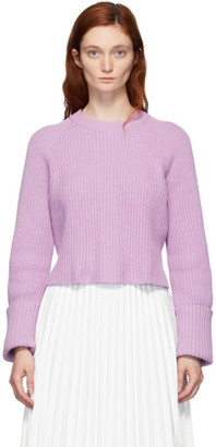 Proenza Schouler Purple Knit Cropped Sweater