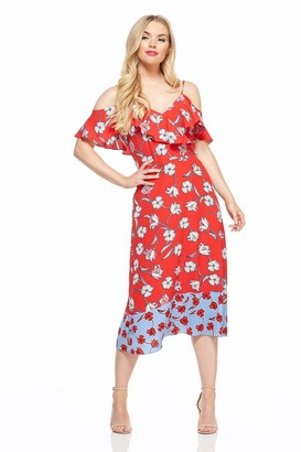 London Times Women's Petite Spaghetti Strap Cold Shoulder Ruffle Maxi Dress