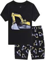 Family Feeling Excavator Infant Baby Boys' Summer Shorts Pajamas Set 100% Cotton Toddler Pjs Size 18-24 Months