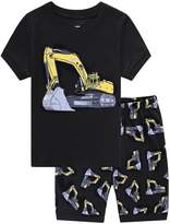 Family Feeling Excavator Little Boys' Summer Shorts Pajamas Set 100% Cotton Pjs Size Years