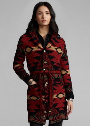 Ralph Lauren Hand-Knit Wool-Blend Belted Cardigan