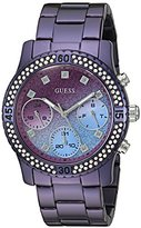 GUESS Women's U0774L4 Sporty Purple Watch with Purple Dial , Crystal-Accented Bezel and Stainless Steel Pilot Buckle
