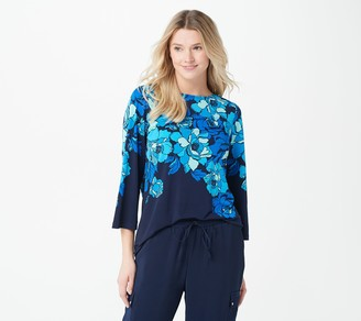 Susan Graver Printed Liquid Knit Bateau Neck Long Sleeve Top