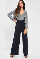 Missguided Petite Premium Navy Crepe Wide Leg Trousers