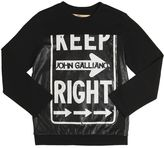 John Galliano Cotton Jersey & Faux Leather T-Shirt