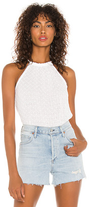 1 STATE Halter Neckline Embroidered Gauze Top