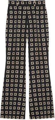 Gucci Square G print faille flare trousers