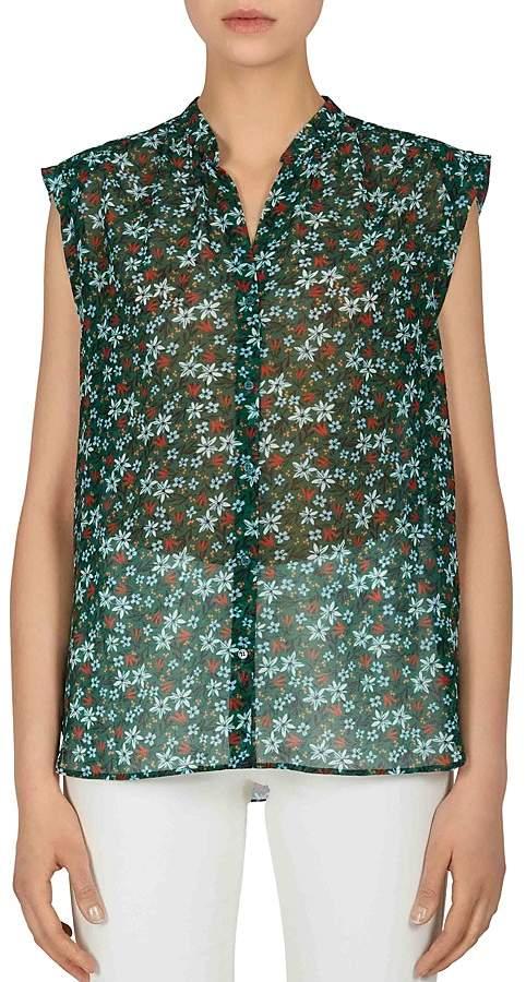 Gerard Darel Cherryl Sheer Floral-Print Blouse