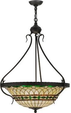 Meyda Tiffany Greenbriar Oak 4 Light Unique Statement Bowl Pendant Shopstyle