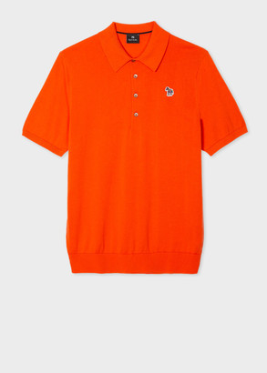 Paul Smith Men's Orange Knitted Cotton Zebra Logo Polo Shirt