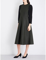 Cefinn Contrast-sleeve Fit-and-flare Wool-blend Dress