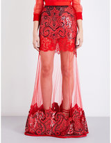 Givenchy Sequinned baroque-pattern high-rise tulle skirt