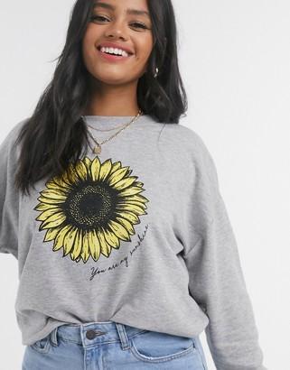 New Look sunflower sweatshirt in grey