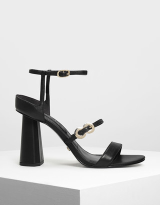 Charles & Keith Leather Infinity Buckle Open Toe Sandals