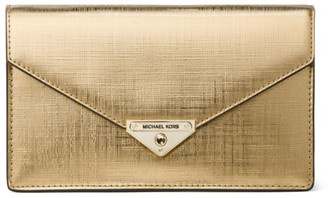 MICHAEL Michael Kors Medium Grace Metallic Leather Envelope Clutch