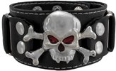 Zeckos Skull and Crossbones Leather Wristband Red Eyes