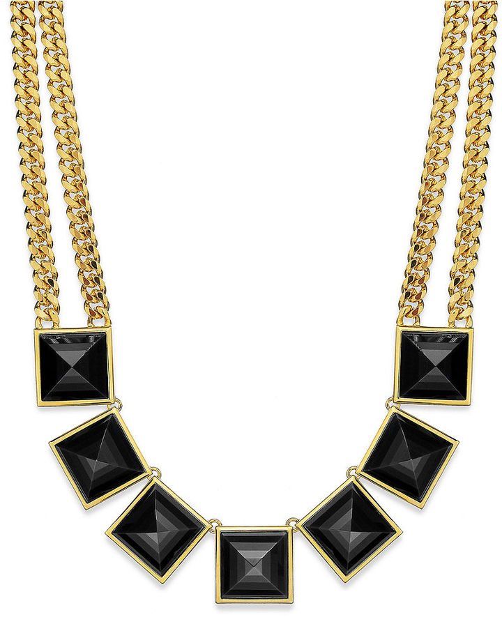 Michael Kors Gold-Tone Black Pyramid Stud Collar Necklace