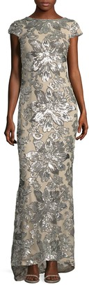 Calvin Klein Cap Sleeve Floral Gown