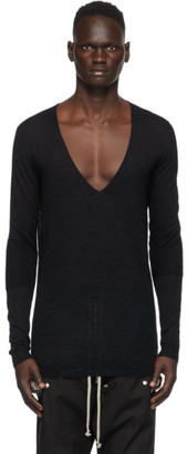 Rick Owens Black Mohair V-Neck Sweater