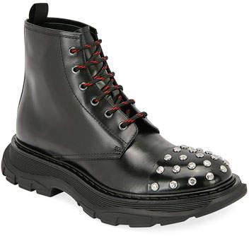 728fcc2a098 Men's Studded Leather Combat Boots
