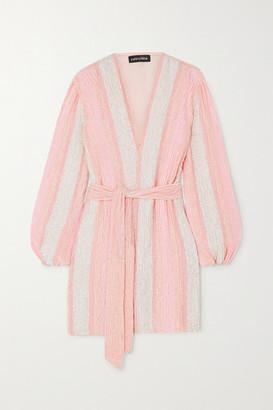 retrofete Gabrielle Velvet-trimmed Striped Sequined Chiffon Wrap Mini Dress - Pink