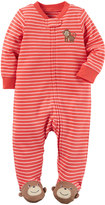 Carter's Baby Boy Embroidered Animal Striped Sleep & Play