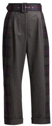 Isa Arfen Tartan Panelled Wool Wide Leg Trousers - Womens - Grey Multi