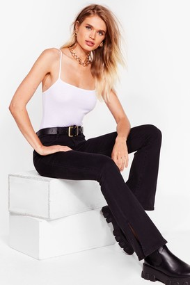 Nasty Gal Womens Flare Here for You High-Waisted Jeans - Black - L, Black