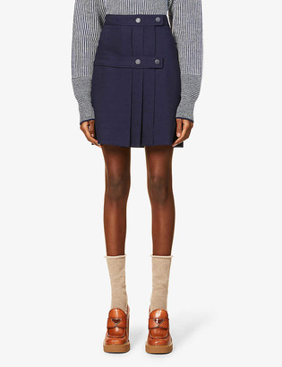 See by Chloe Pleated high-waist stretch-woven mini skirt
